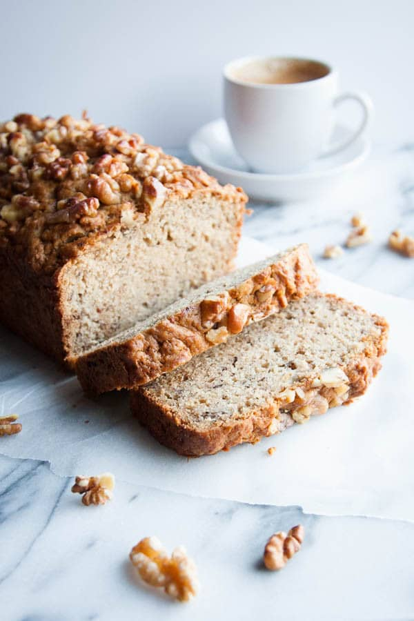 I promise that bourbon banana bread won't make you drunk before noon, but the added bourbon imparts a wonderful subtle butterscotch flavour to this recipe.