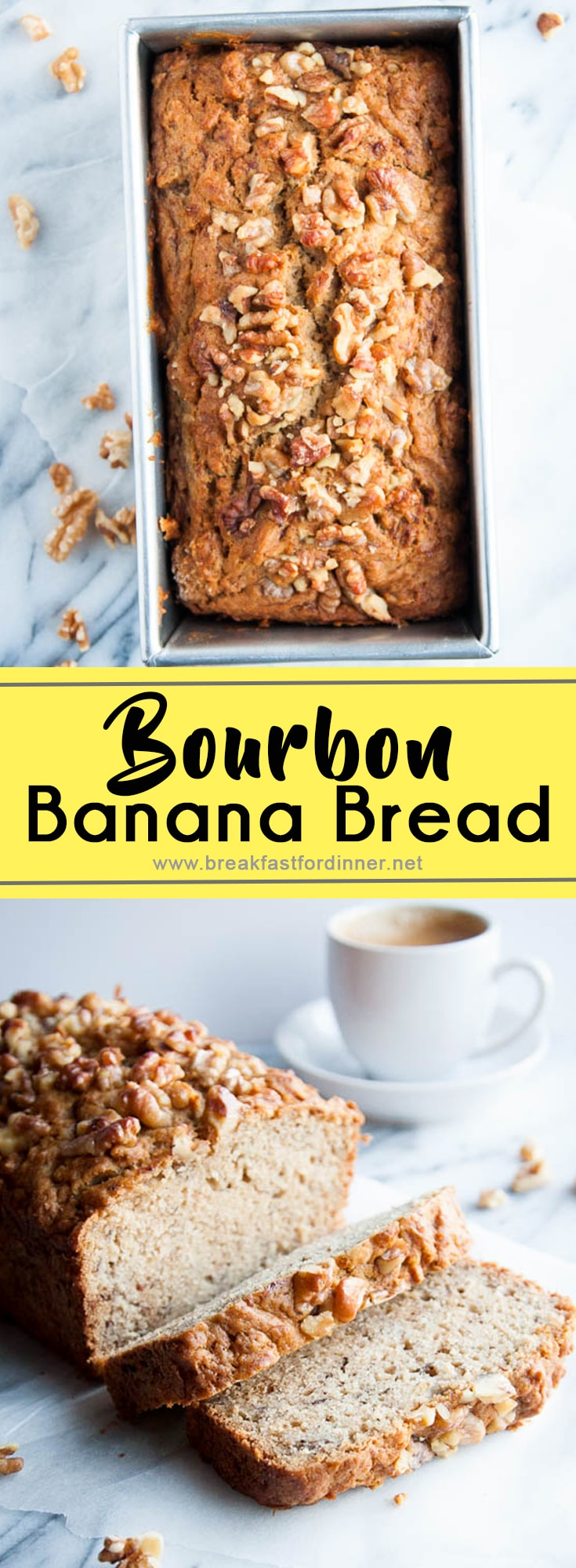 My favourite moist 3-banana Banana Bread Recipe with a secret ingredient: bourbon! It's always 5 o'clock somewhere!