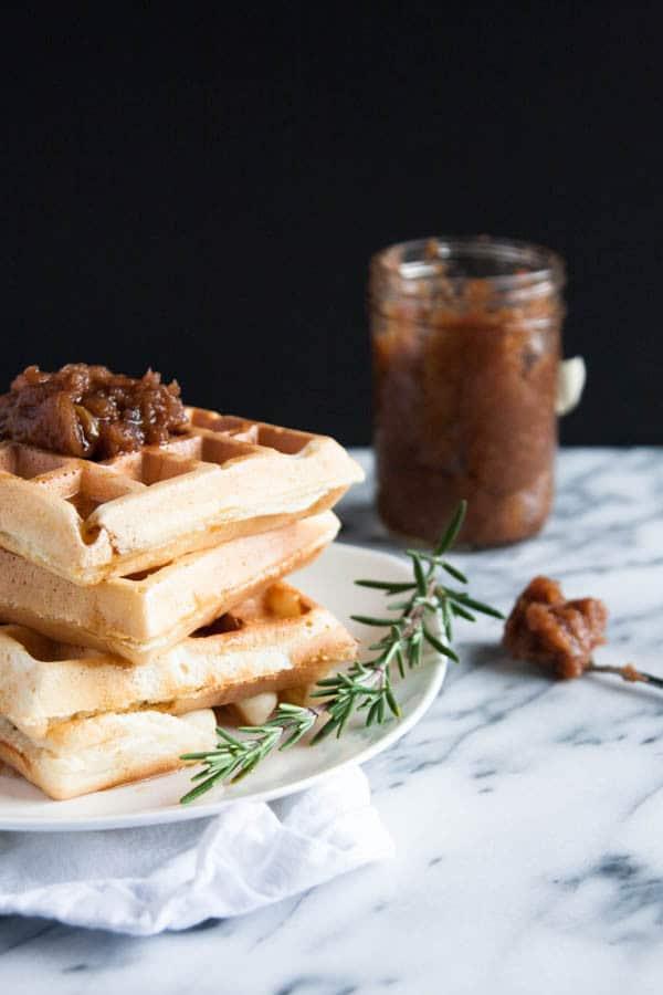 Fluffy Waffles with Apple Butter is like having dessert for breakfast. WINNING.