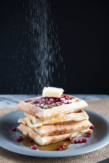Eggnog Waffles are creamy, fluffy, and sweetly spiced with nutmeg. Try them for a holiday breakfast!