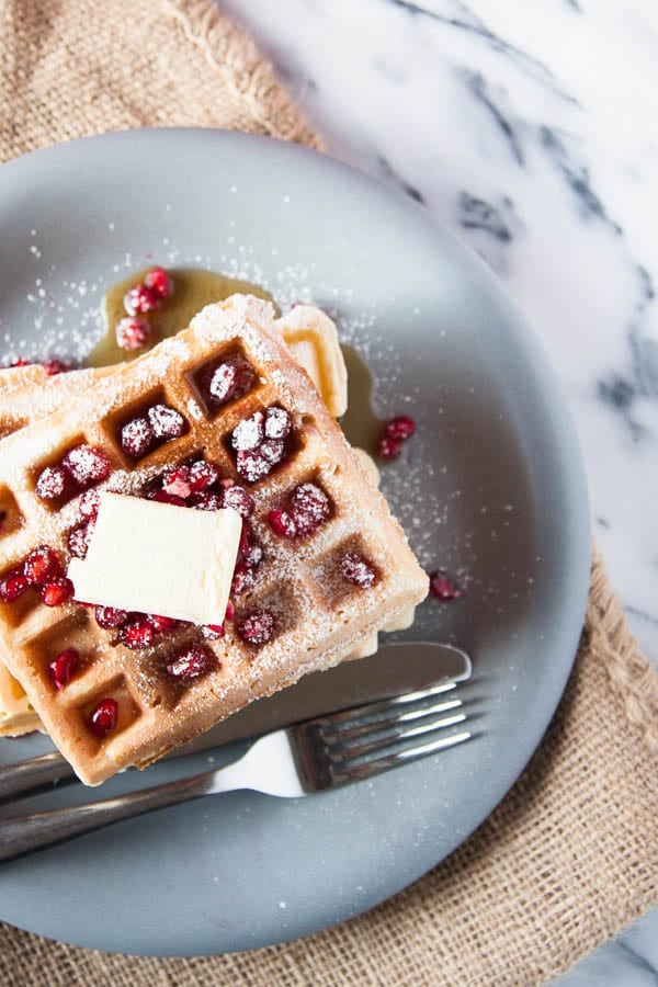 Eggnog Waffles for holiday breakfasts!