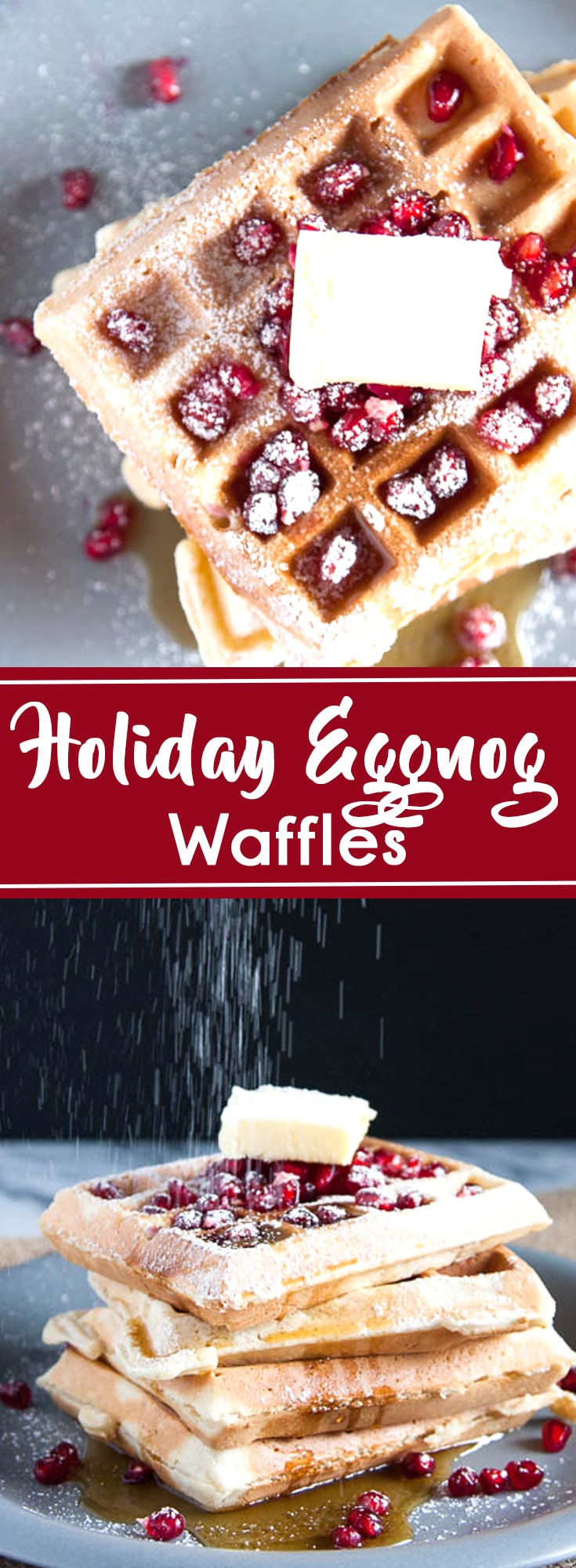 Eggnog Waffles are creamy, sweetly spiced with a pinch of nutmeg, and excellent for holiday breakfasts!