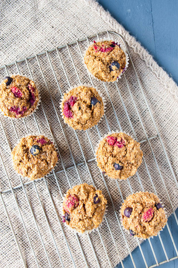 Healthy Double Berry Bran Muffins are bursting with berries and good-for-you fiber.