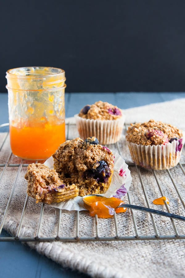 Healthy Double Berry Bran Muffins