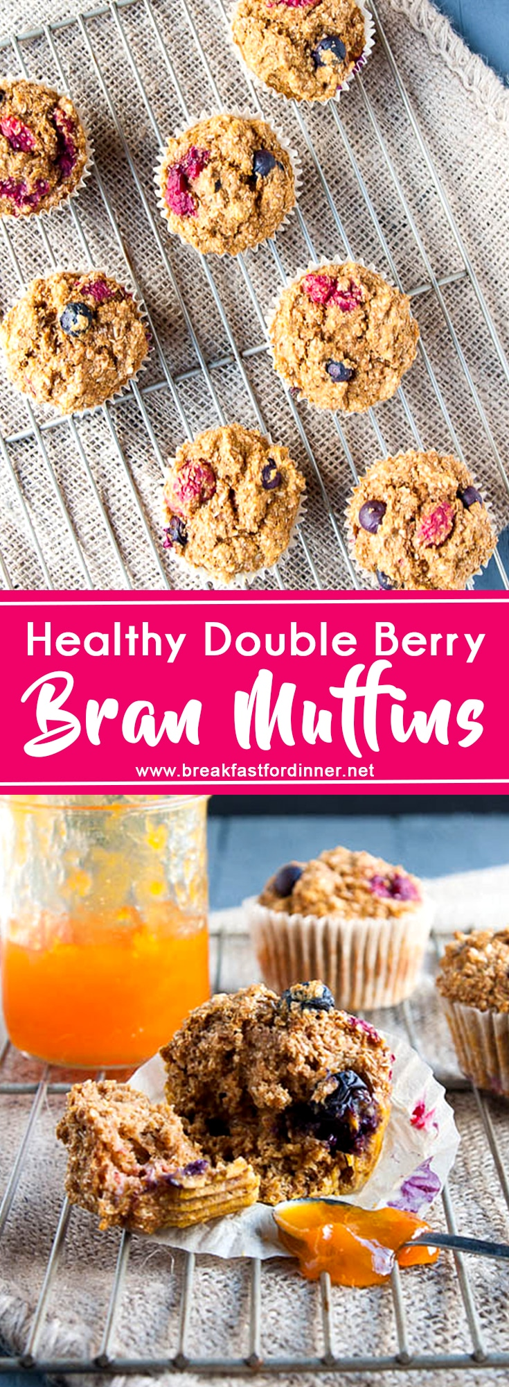 Double Berry Bran Muffins are high in fiber and low in fat - a healthy start to the new year!