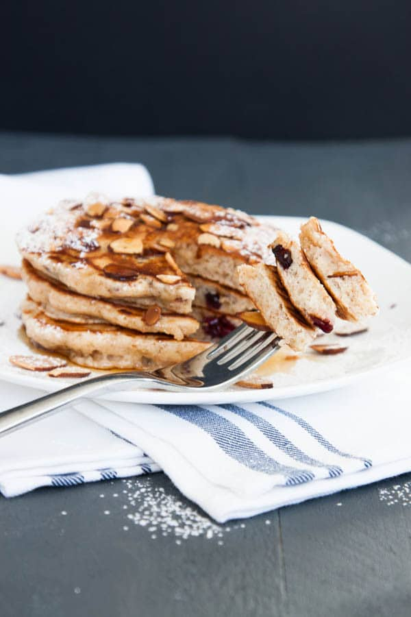 Almond Cranberry Whole Wheat Pancakes | breakfast for dinner