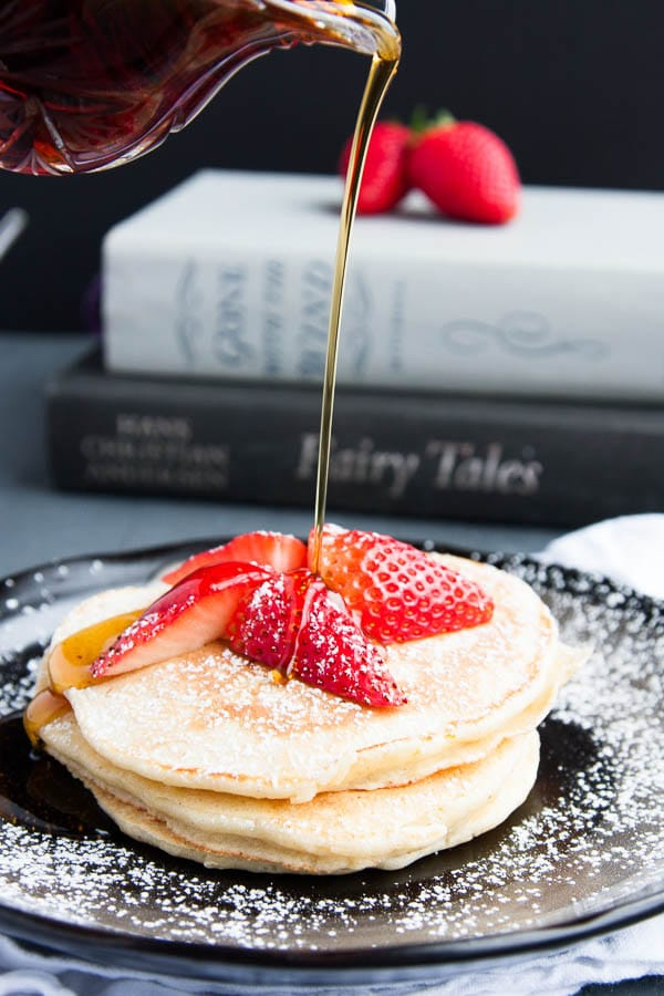 Fluffy Lemon Ricotta Pancakes are creamy and soft and make a lovely Valentine's Breakfast.
