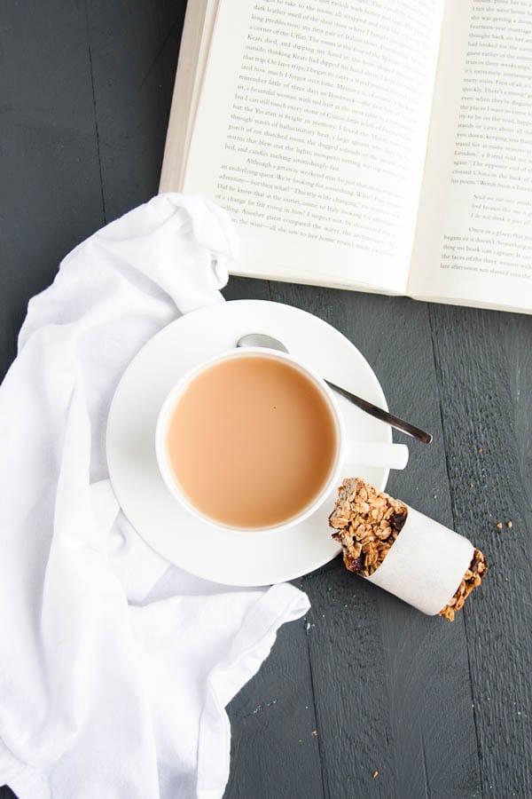 Simple Homemade Granola Bars and tea for breakfast!