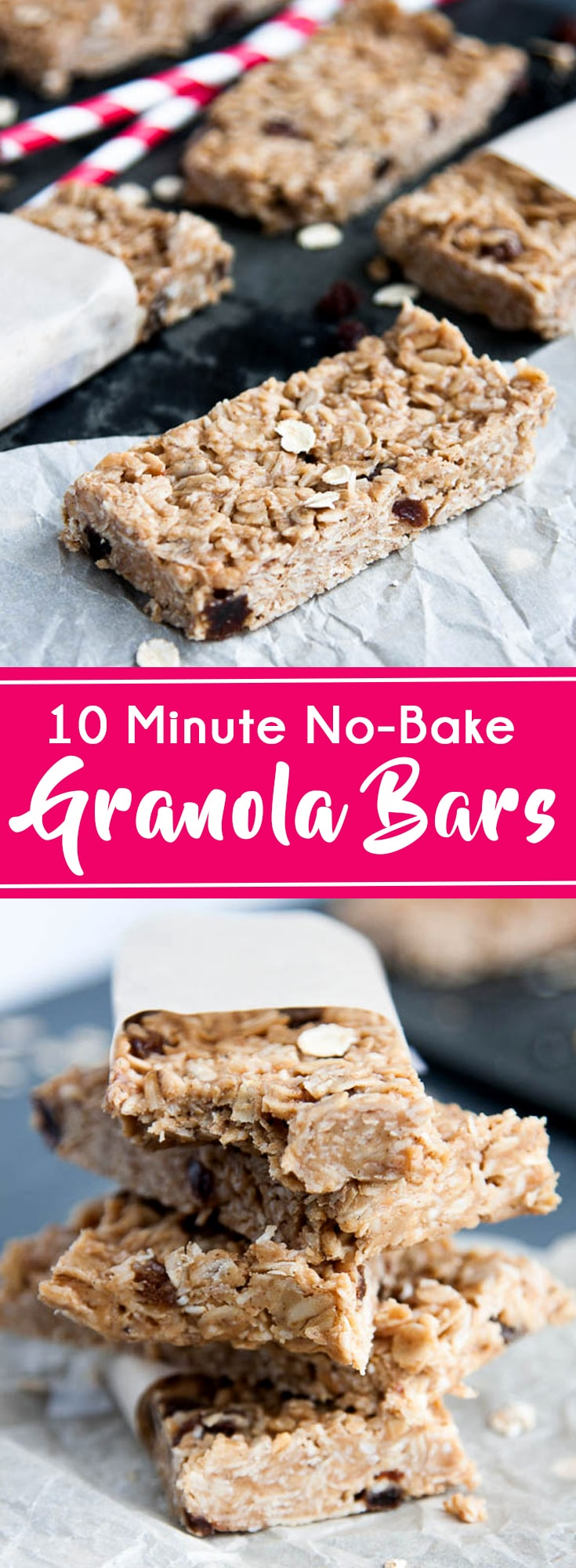 6 ingredients, one bowl, no bake Peanut Butter Oatmeal Granola Bars. You need this recipe!