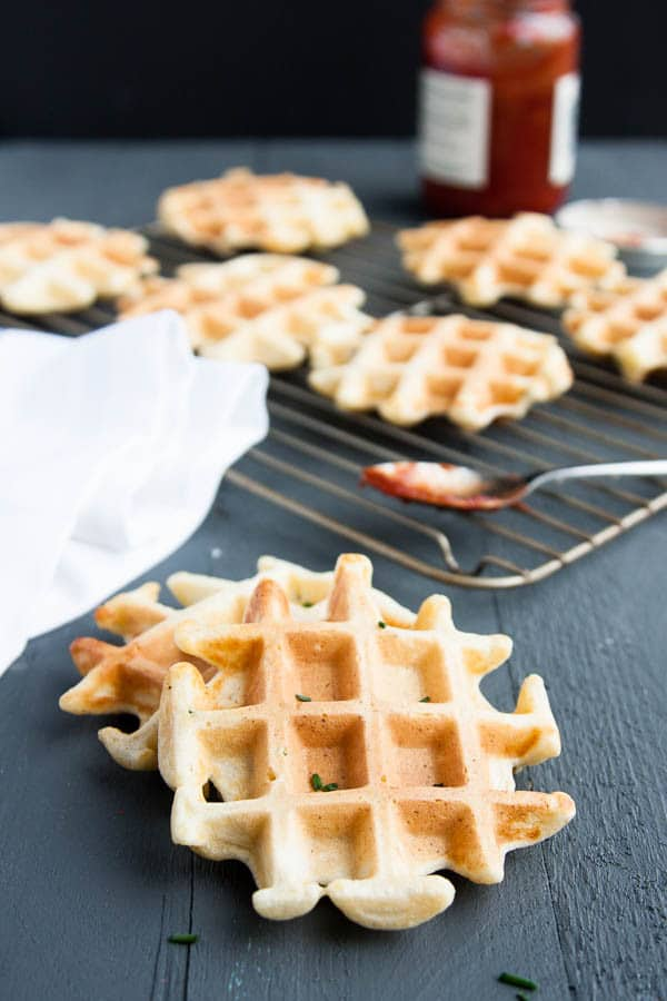 Savory Ricotta Chive Waffles - the outsides are crisp while the insides are soft and fluffy, flavoured with a gentle tang of ricotta and burst of oniony chives.
