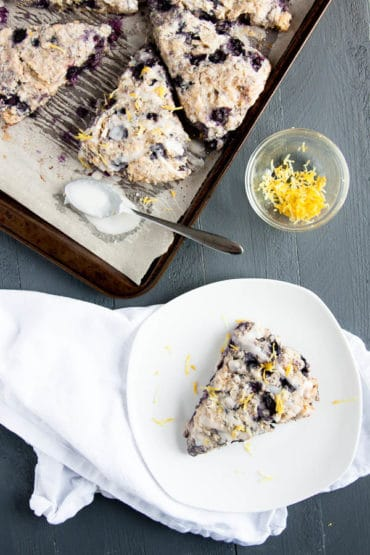 Spring Breakfast alert! Lemon Blueberry Scones make a delicate breakfast to celebrate the season.