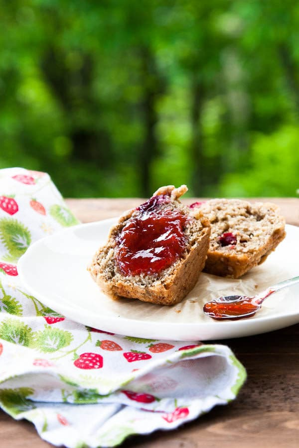 Strawberry Rhubarb Jam is a classic combination - and delicious on everything from plain buttered toast to spread across a scrumptious muffin.