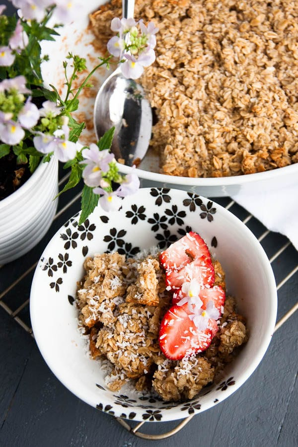 Creamy, toasty warm oatmeal that is bursting with tropical coconut flavour.   breakfast for dinner