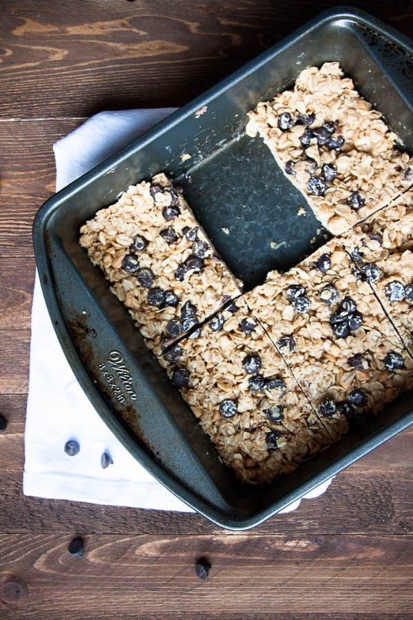 Take your breakfast to go! No-Bake Peanut Butter Chocolate Chip Oatmeal Squares require no baking - just set in the fridge overnight and eat the next morning.
