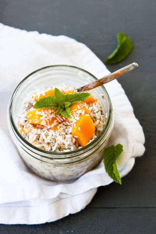 Mango and coconut make Tropical Overnight Oats! | breakfast for dinner