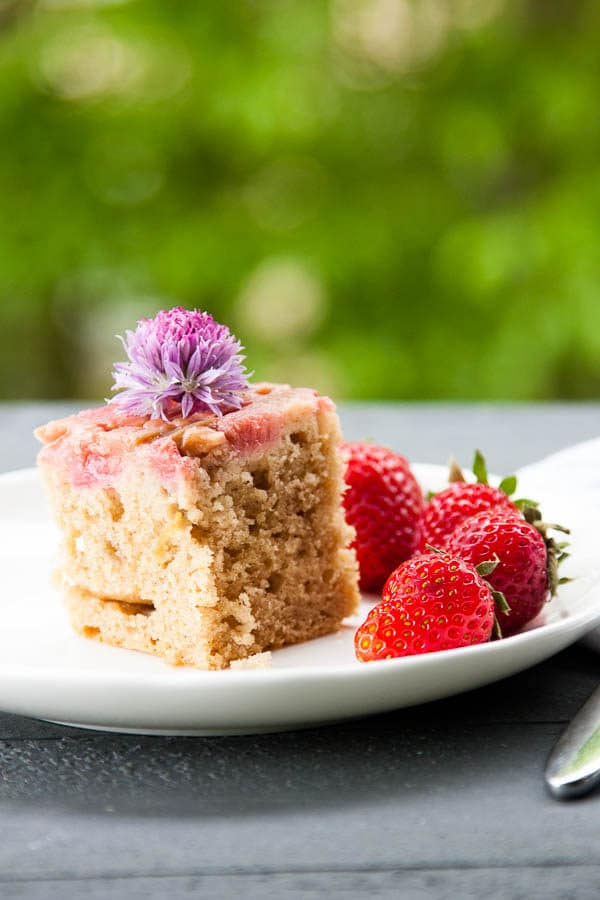 Upside-down Rhubarb Brunch Cake has a buttermilk cake base and is topped with tangy rhubarb laced with gooey caramel, which makes this already-moist cake irresistible.