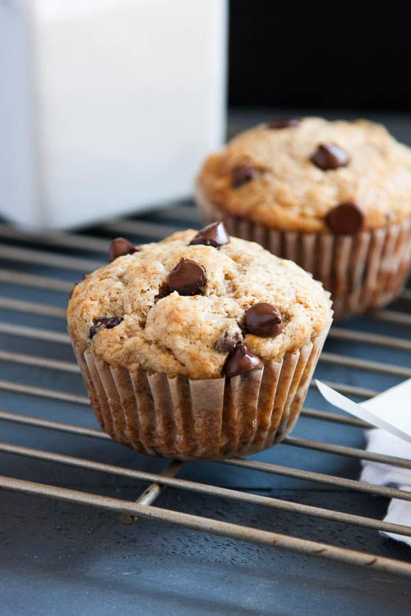 Banana Chocolate Chip Muffins use 3 bananas for maximum flavour and sour cream to keep them super moist! Treat yo self with chocolate for breakfast!   breakfast for dinner