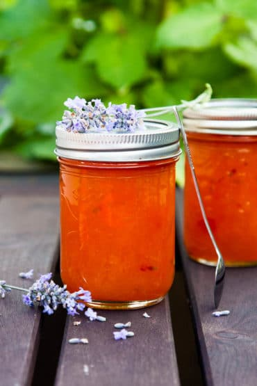 The lavender in this Apricot Lavender Jam adds a faint floral note - an unexpected and delightful addition. Recipe yields 2 half-pint jars.