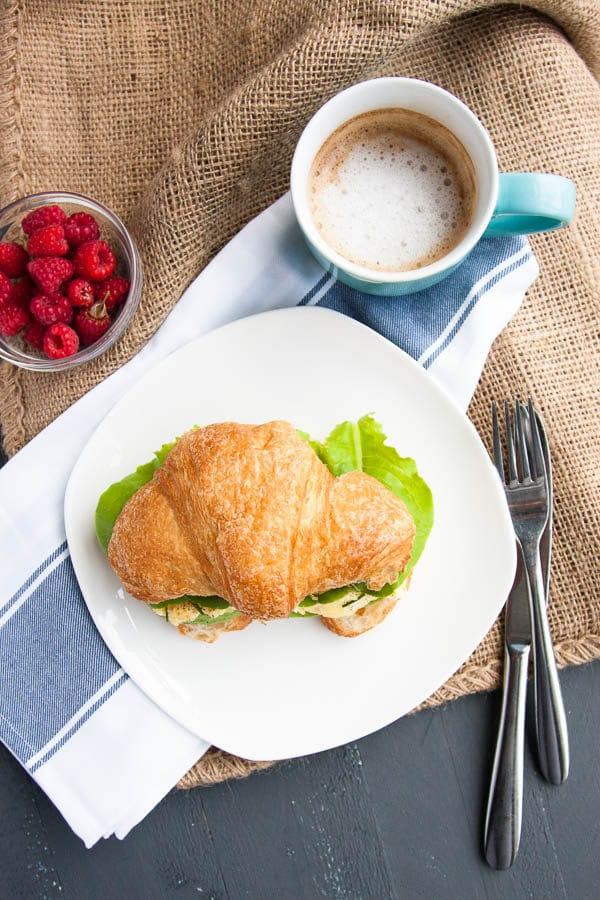 Scrambled Egg and Avocado Croissant Sandwiches