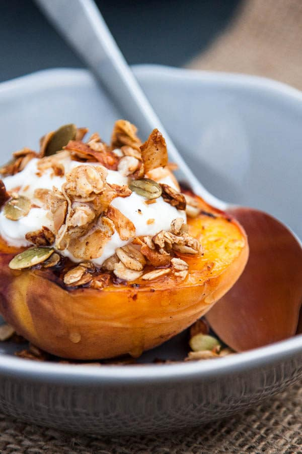 Grilled Peach Halves with Granola and Honey make a special variation ...