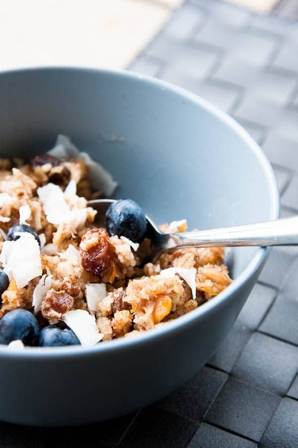 Morning Glory Baked Oatmeal - A glorious oatmeal to start any day, combining the chewy texture of carrots with the wonderful flavors of apple, raisins, coconut, walnuts, and spices.