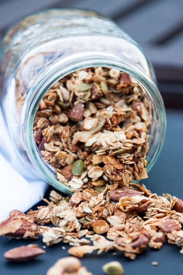 Nut and Seed Granola is a crunchy and protein-filled breakfast, to top on yogurt or your favourite fruit. | breakfast for dinner