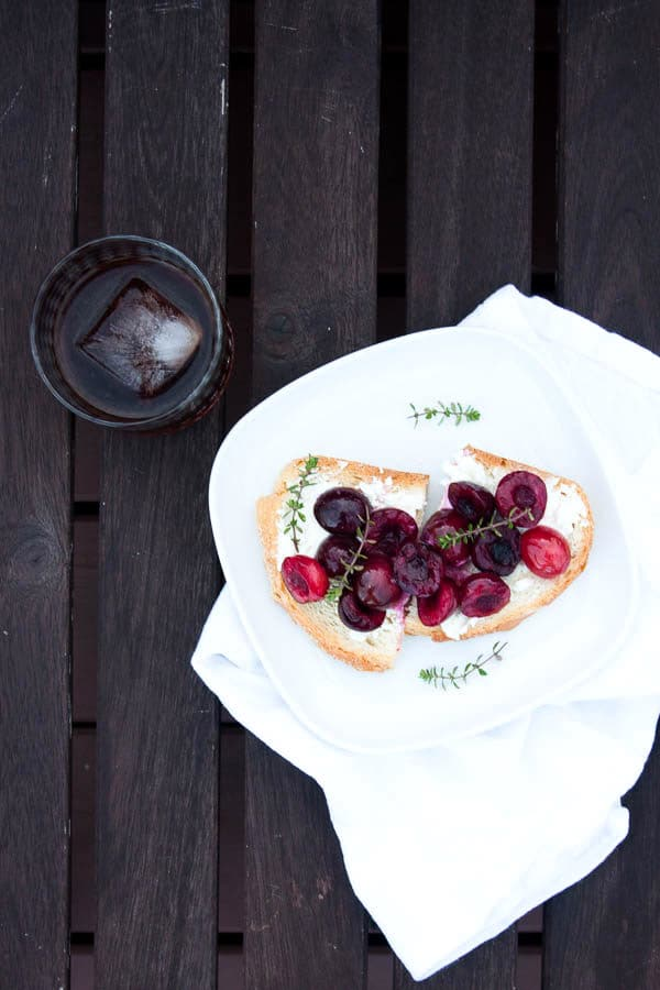 Creamy goat cheese pairs with sweet roasted cherries, and fresh savory thyme - this is one of my favourite summertime breakfasts.