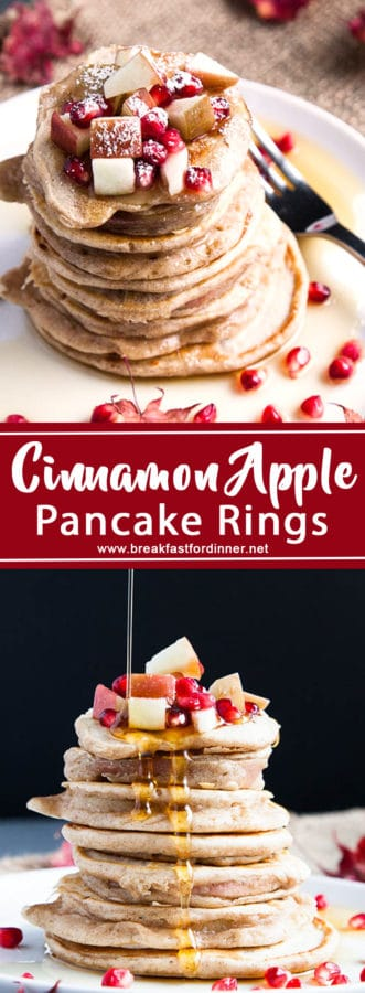 Soft apple rounds engulfed by cinnamon pancake batter and served hot with maple syrup.