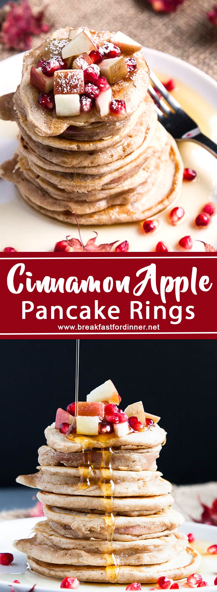 Apple Pancake Rings are sliced apples dipped in cinnamon pancake batter, and fried on either side just like a regular pancake - but with a healthy surprise inside!