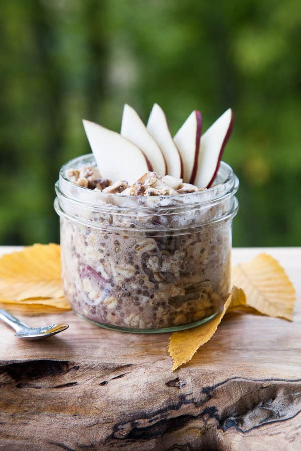 Pears go underrated during a season that's so focused on apples. Their creaminess and crrunch pair with a generous sprinkle of cinnamon alongside healthy oats and chia seeds.