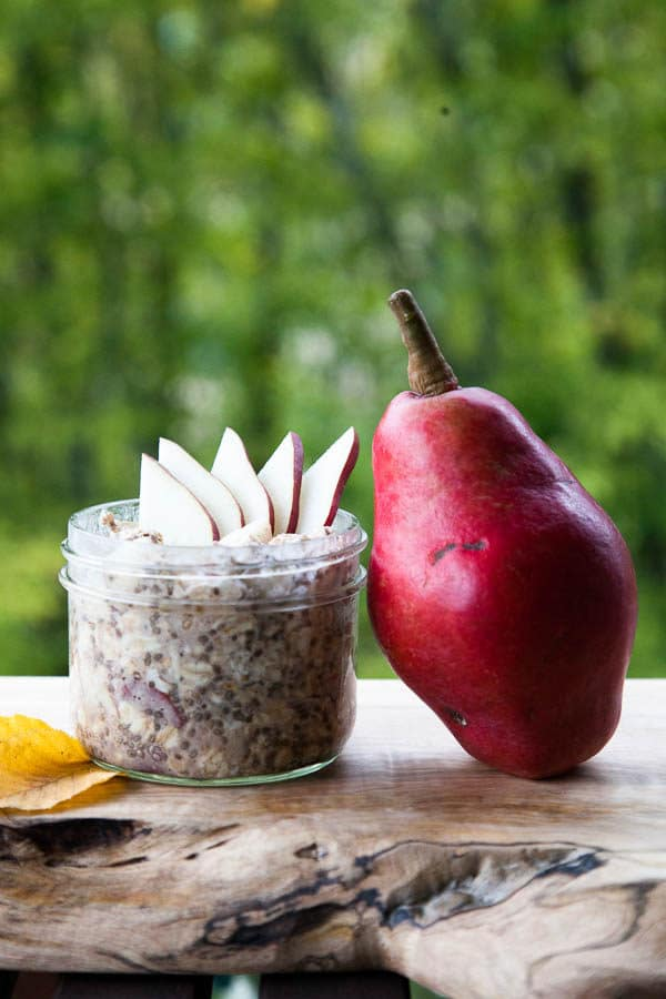 Pears go underrated during a season that's so focused on apples. Their creaminess and crrunch pair with a generous sprinkle of cinnamon in this Cinnamon Pear Overnight Oats recipe.