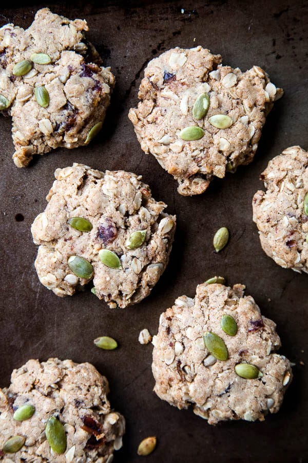 Loaded with oatmeal, seeds, peanut butter, and chopped dates for sweetness, these Oatmeal Date Breakfast Cookies are a portable, healthy breakfast or snack you can stash in your freezer and take to go.