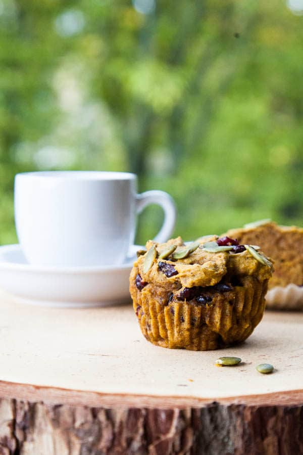 Fragrantly spiced with cinnamon, nutmeg, ginger and ground cloves, and kept moist by a full cup of pumpkin puree, these Pumpkin Cranberry Muffins are a celebration of October.