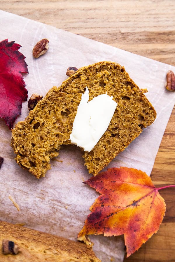 I much prefer a warm slice of Pumpkin Spice Loaf slathered with melty butter over pumpkin pie or a PSL any day ;)