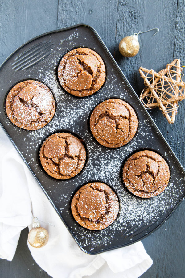 No-Bowl Gingerbread Blender Muffins are made 100% in the blender, and are gluten and dairy-free (bonus!). A quick and easy holiday muffin!