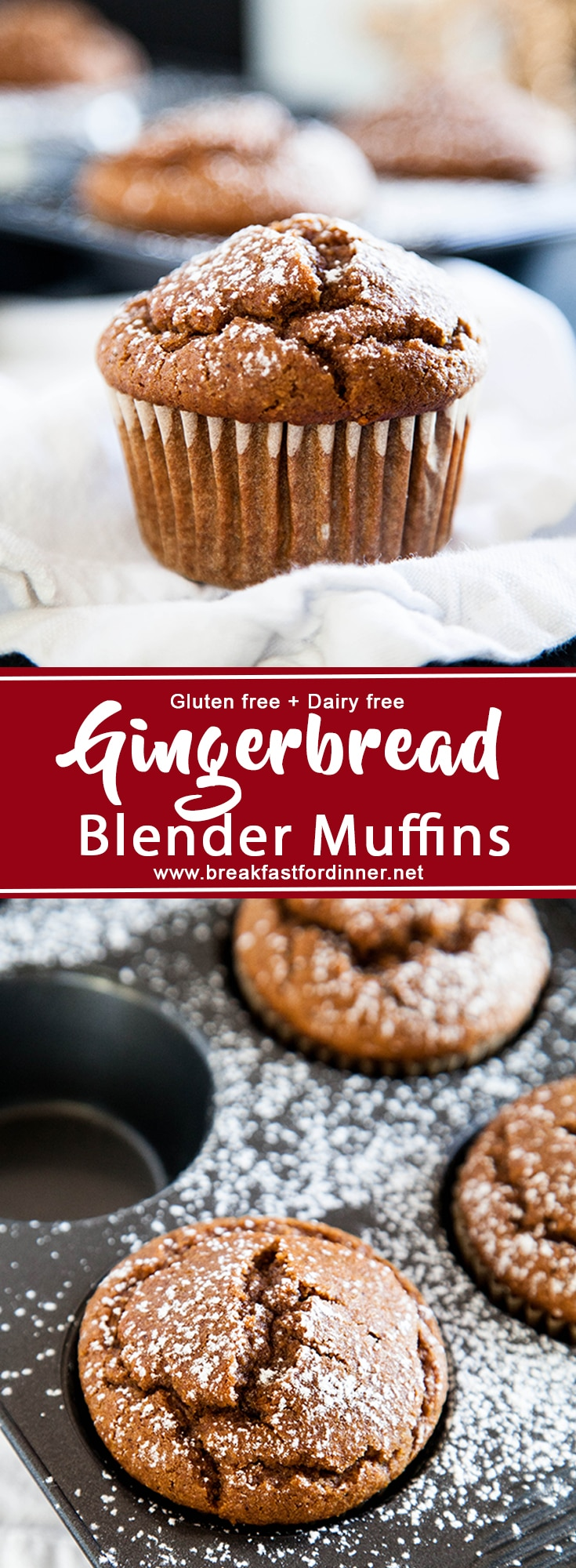 Gingerbread Blender Muffins are made 100% in the blender, and are gluten and dairy-free (bonus!). A quick and easy holiday muffin!