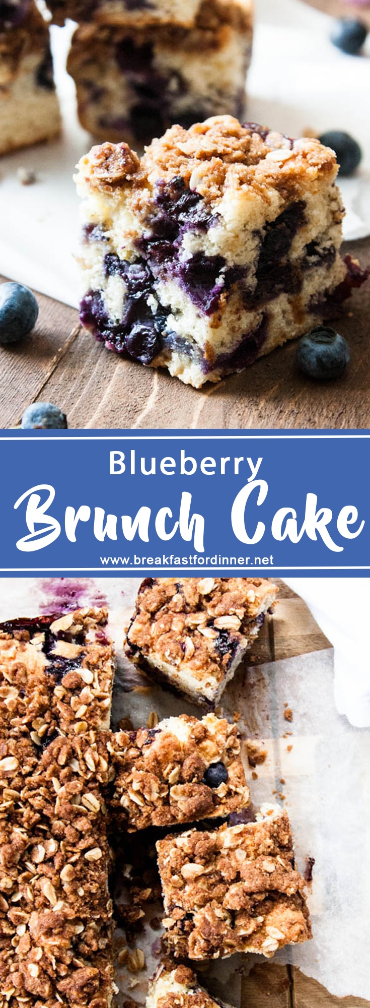 Blueberry Brunch Cake is packed with juicy blueberries, a hint of lemon zest, and generously sprinkled with a crumbly brown sugar oat topping. Perfect for a brunch party!