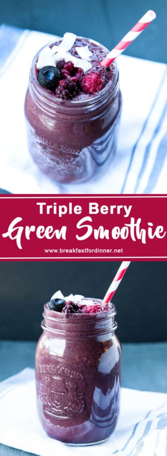 I love this Triple Berry Green Smoothie because it contains a full cup of spinach, and you can't even taste it!