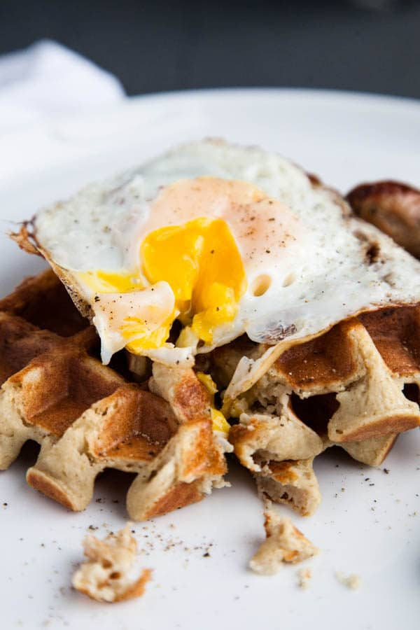 Blender Sweet Potato Waffles are mixed entirely in the blender and are hearty and gluten free.