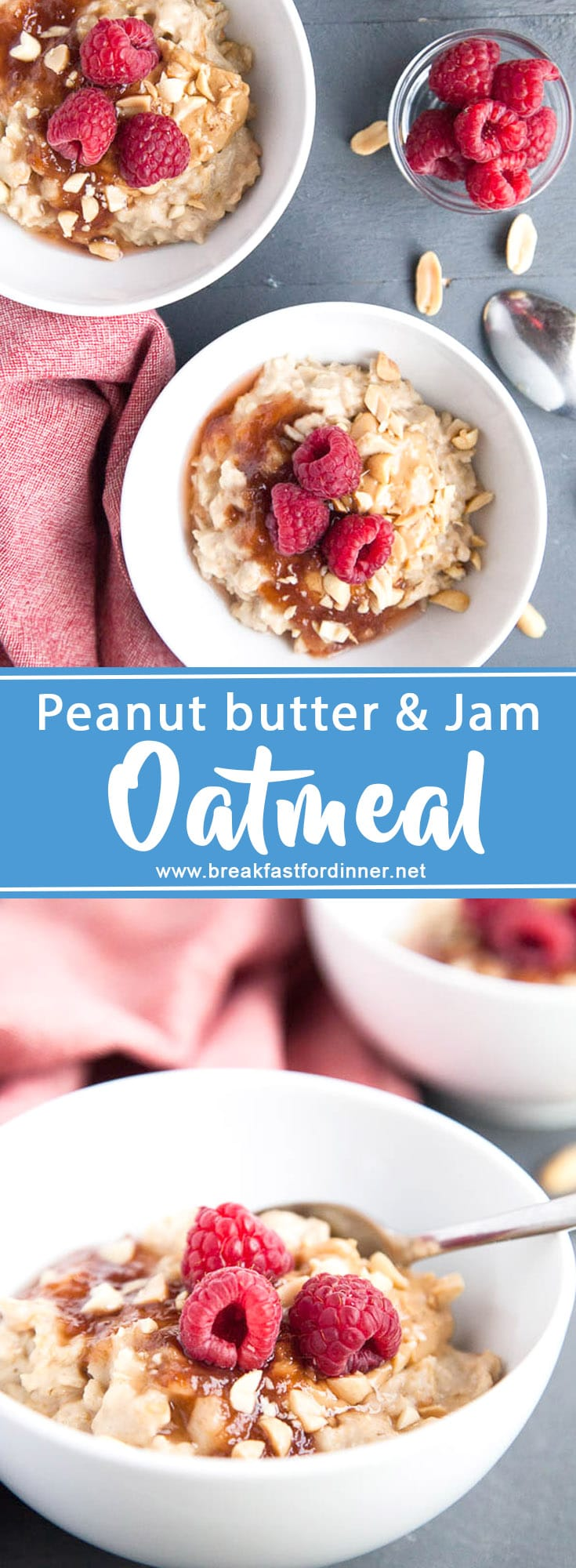 Peanut butter and jam isn't just a great sandwich - it makes a fun oatmeal! Like eating a sandwich with a spoon! ...Is that weird?