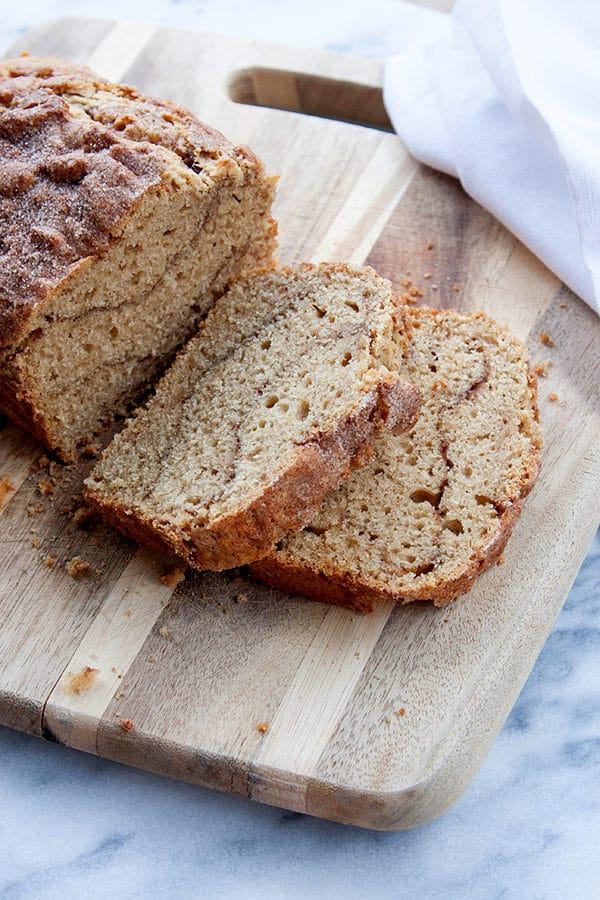 "One bowl and a whisk to create this Easy Cinnamon Ribbon Loaf - generous sprinkles of cinnamon sugar create visible ""ribbons"" of cinnamon flavour explosions!"