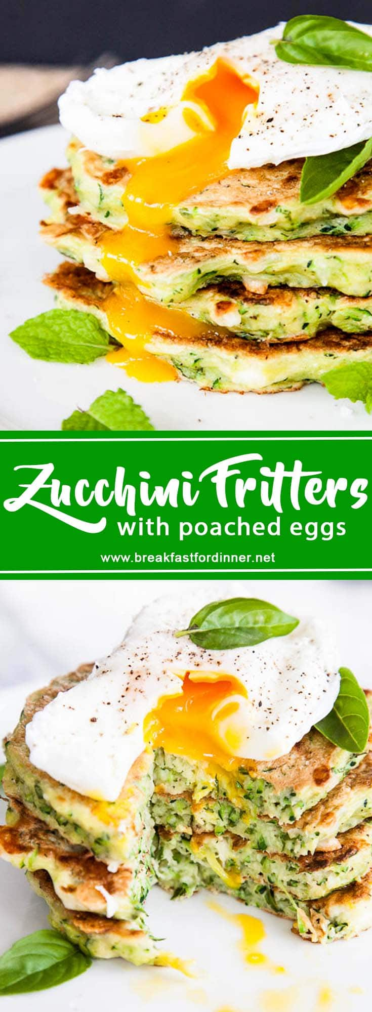 Zucchini Fritters with Poached Eggs | breakfast for dinner