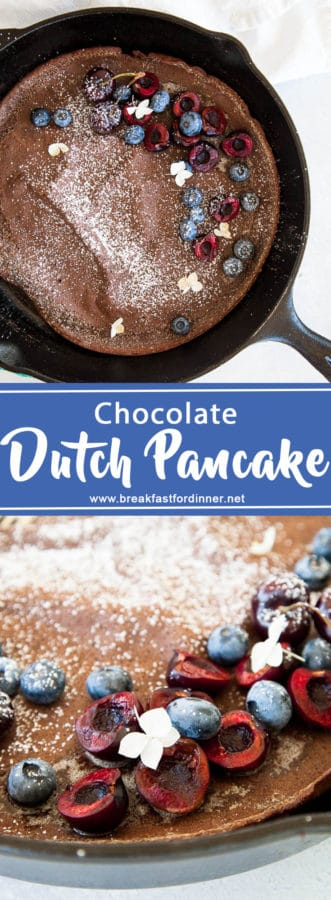 Chocolate dutch baby pancake is the perfect little breakfast treat when eaten with fresh berries, a sprinkle of powdered sugar, and a drizzle of maple syrup.