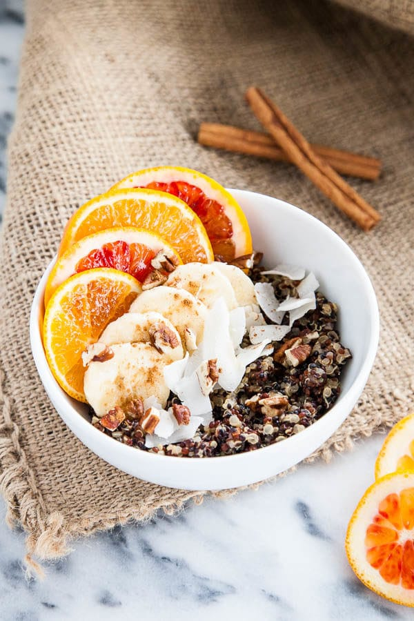 Quinoa is not just for dinner - try it for breakfast with these hearty, nutritious breakfast quinoa bowls, swirled with vanilla, cinnamon, and creamy milk.
