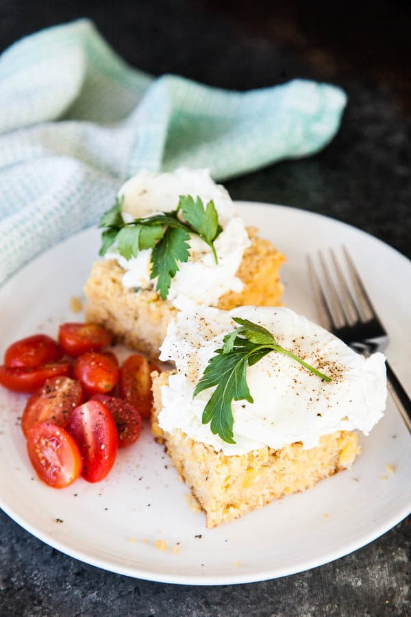 Jalapeno cornbread topped with poached eggs