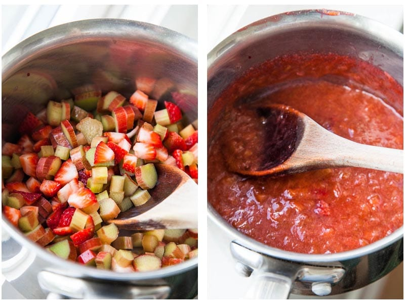 Making stewed Strawberry Rhubarb Compote
