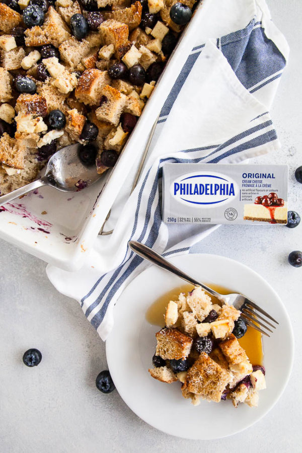 Blueberry Cream Cheese French Toast Bake | breakfast for dinner