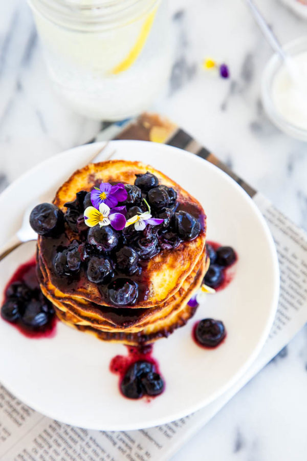 "Gluten and grain-free, high in protein and fibre, Coconut Flour Pancakes are a healthy and filling alternative to regular pancakes! Recipe makes approximately 15 3"" size pancakes."